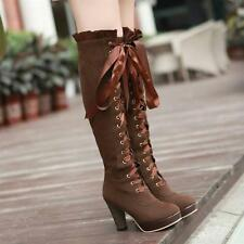 High heel shoes lace up zip ruffle trim sexy thigh high over the knee boots new