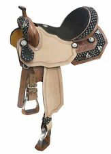 "14"", 15"", 16"" Double T barrel saddle with barrel racer conchos on suede leather"