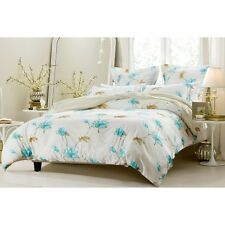 6PC FLORAL BLUE TAUPE BEDDING SET-INCLUDES COMFORTER AND DUVET COVER