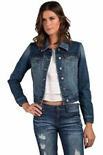 Standards & Practices Womens Stretch Denim Knit Long Sleeve Combo Cropped Jacket