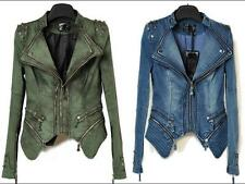 Sexy Womens Punk Spike Casual Chic  Denim Jacket Studded Shoulder Jeans coat