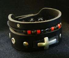 Black Leather Silver Cross Bracelet Cuff with Tribal Beads,Triple Layer Bracelet