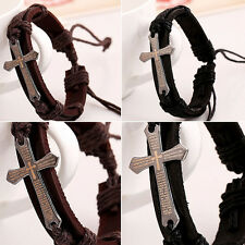 Fashion Scripture Cross Alloy Hand Woven Leather Bracelet Gift Black Brown #YL