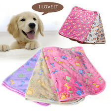 Warm Mat Pet Small Large Paw Print Cat Dog Puppy Fleece Soft Blanket Bed Cushion