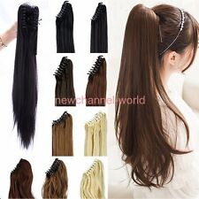 Hot Ponytail Clip in Hair Extension Claw Pony tail clip on Extensions as human