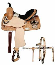 "13"" Double T youth/pony size barrel saddle with half colored zebra print seat"