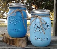 2 Handcrafted Painted Distressed Mason Jars Rustic Wedding Decor COUNTRY BLUE