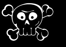 FUNNY CARTOON SKULL & CROSSBONES VINYL STICKER CAR TRUCK DECAL PICK SIZE/ COLOR