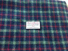 Harris Tweed Fabric 100% wool Dark blue & red/green check - ideal for xmas craft