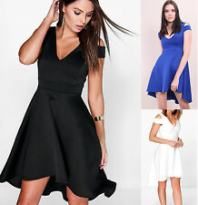 New Women's Ladies Cold Cut Out Shoulder Skater Pleated Mini Sexy Dress UK 8-20