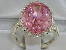 English Hallmarked Solid 925 Sterling Silver Synthetic Pink Sapphire Ring
