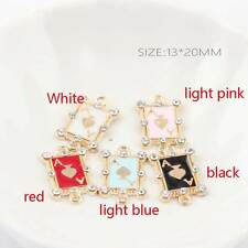 New 10PCS Enamel Poker A Rhinestone Charm Pendants Gold Tone DIY Jewlery 13x20mm