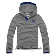 NEW ABERCROMBIE & FITCH KIDS A&F Boys Classic Pullover Hoodie Tee Shirt Grey M-L