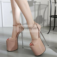 Super High Heels Women Stiletto Platform Sandals Sexy Club Buckle Closure Shoes