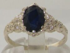 English Hallmarked Solid 925 Sterling Silver Natural Sapphire Solitaire Ring