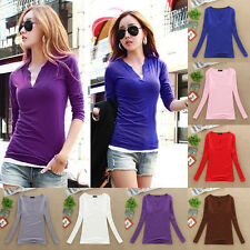 Women Sexy Fashion V Neck Blouse Slim Bottoming Shirt Long Sleeve Tops New 2016