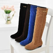Womens Knee High Boots Slouch Flat Suede Metal Oxford New Pull On Shoes Plus Sz