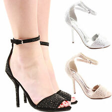 LADIES WOMENS PEEP TOE STRAPPY PLATFORM STILETTO HIGH HEEL SANDAL SHOES SIZE 3-8