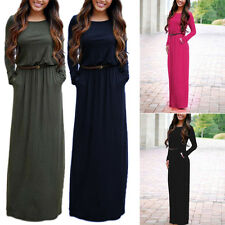 Fashion Women Summer Belted Long Sleeve Party Evening Cocktail Maxi Long Dress J