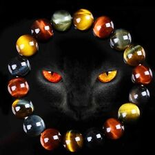 Natural Colorful Tiger's Eye Stone Round Beads Stretchy Bracelet Bangle Jewelry