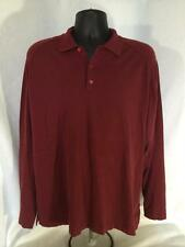 Tommy Bahama Mens Red Silk Blend Long Sleeve Polo Shirt Size Large