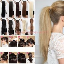 Long Ponytail Clip In Hair Extension Tie Up Pony Tail Fake Hairpiece human made