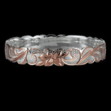 Hawaiian Bangle Plumeria Scroll 925 Sterling Silver cut out Bracelet Silver Rose