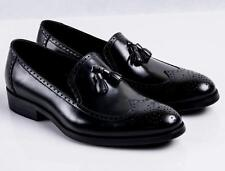 Real Leather New Mens Dress Slip on Formal Business Loafers Black or Brown shoes