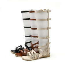 Womens Gladiator Roma Sandal Open Toe Hollow Out Knee High Boot Shoes All US Sz