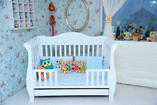 New 3 in 1 White  sleigh Baby Cot Bed Crib Toddler Bed with Drawer & Mattress