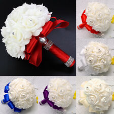 Bridal Colourfast Foam Roses Artificial Flower Wedding Bride Bouquet Party Decor