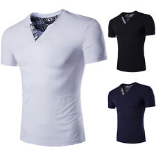 UK Stylish Mens Summer V Neck Casual Slim Fit Muscle Tops Short Sleeve T-shirt