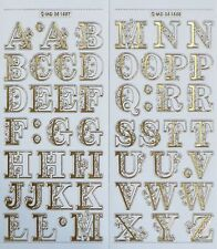 FANCY ALPHABET UPPERCASE 25mm Embossed Clear Letters Filigree PEEL OFF STICKERS
