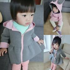 Baby Toddler Girls Spring Cute Rabbit Ear Zip-up Hooded Coat Outerwear Jacket