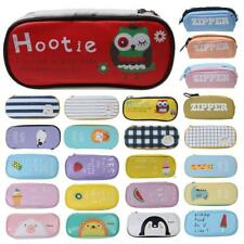 Zipper Pencil Pen Case Large Stationery Make Up Cosmetic Brush Bag Storage Pouch