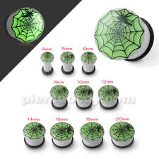Glow In The Dark Spider Web Ear Plug Sold By Piece