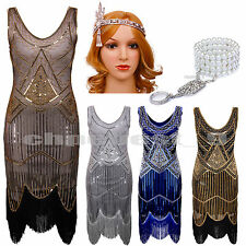 1920s Flapper Dress Gatsby Charleston Vintage Fringe Sequin Beaded Fancy Dresses