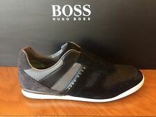 HUGO BOSS GREEN  Akeen Clean 1 Men's Sneakers Trainers In Black