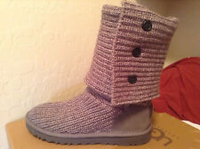 $299  STUNNING UGG Australia CLASSIC CARDY  GREY Knit boots # 5819  size 7