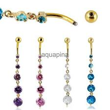 Belly Bar Dangle Reverse Clear Crystal Body Piercing New Belly Bars Navel Rings