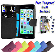 Leather Wallet Flip Book Case Cover For Apple iPhone 5 5S + Free Tempered Glass