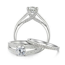 1.39 Ct Round 925 Sterling Silver AAA CZ Wedding Ring Band Set Women's Size 5-10