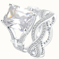 Emerald Cut White CZ 925 Sterling Silver Wedding Engagement Ring Set Size 5-10