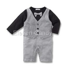 Baby Toddler Boys Bow Tie Waistcoat Tuxedo Striped Vest Wedding Romper Jumpsuit