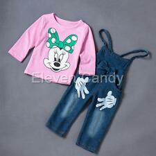 Baby Girls Minnie Mouse T-shirt Tops+Braces Jeans Pants Set Kids Overalls Outfit
