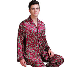 Mens Silk Satin Pajamas Pyjamas Set Sleepwear XS~4XL Plus