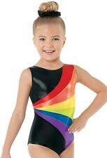 NEW Black Rainbow Foil Metallic Mystique Dance Gymnastics Leotard + Scrunchie