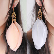 2 Pairs Women Handmade Earrings Goose Feather Dangle Eardrop Hook Gifts