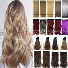 Long Clip in 3/4 Full Head Wavy Hair Extensions Curly Straight as Real Remy Feel