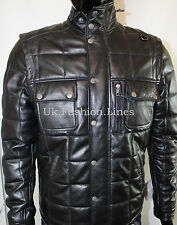 New Men Real Leather Quilted Biker Jacket/Vest,, removable sleeves RRP 295